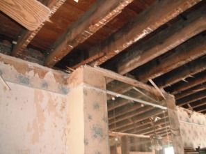 Living room ceiling and fireplace before