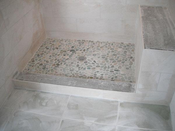 Shower tile in progress