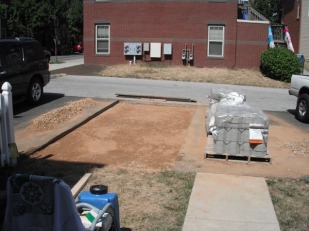 Staging the pavers and sand