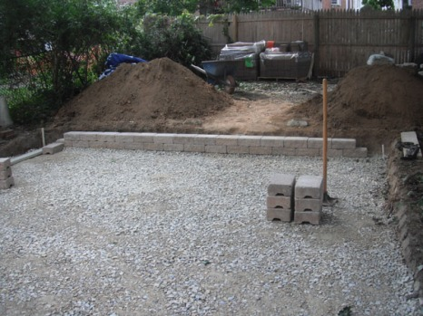 Adding crushed stone and pavers