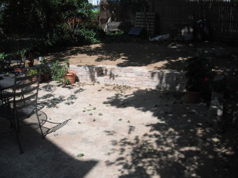 Landscaped patio after 1