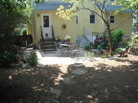 Landscaped patio after 2