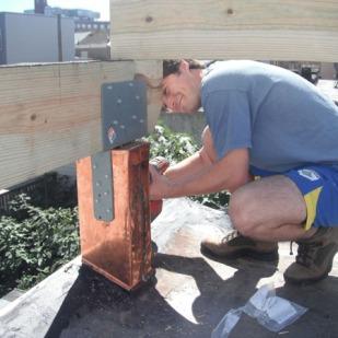 Gordon's roof deck is in progress